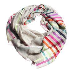 Silk Wool Scarf.  Rainbow