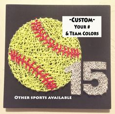 String Art. Softball Gifts. Softball. Softball Mom. Sports Decor. Graduation Gift. Sports Memorabili