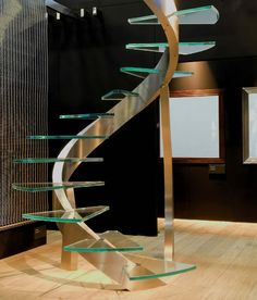 FR House=front stairs=floating glass stair steps with metal frame below to support....needs handle bars