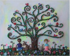 """The Visiting Tree"" - Polymer clay art by Tammy Durham"