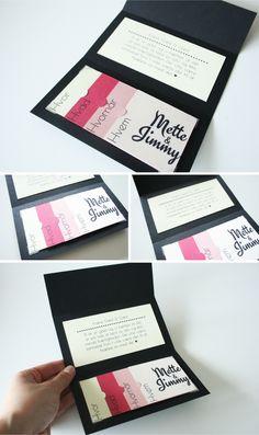 Invitation DIY guide, færdig invitationhttp://www.toomuchtulle.dk/do-it-yourself/mine-diy-projekter/2012/07/04/invitation-med-smaa-kort