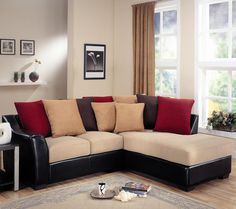 Lily Contemporary Sectional with Assorted Back Pillows 799 96W 39H 83D seat depth 21