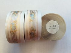 French Vintage Floral Ribbon with Pattern. Made in France. Sold by the Yard. 1 inch wide by AnafrezNotions on Etsy