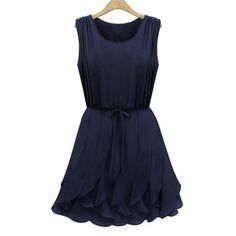 Women's Cute Flounces Solid Color Sleeveless Dress great pin!