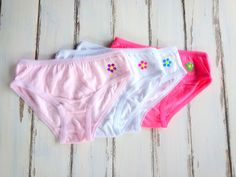 Set of four Girls Panties 2/3 Years, Girls Brief With Studs Flower, Panties 2/3 Years With Flower, Toddler Panties, Lot of Girls Panties by PinkAndBlueSugar on Etsy