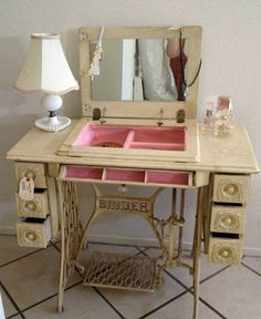 Redesign old furniture - use the old sewing machine as vintage furniture