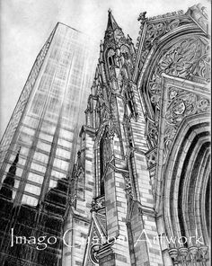 Fine Art Print from Original Charcoal by ImagoCustomArtwork church, architecture, building, skyscraper, cathedral