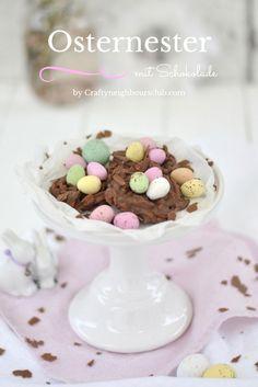 Süße Osternester mit Schokolade selbstgemacht. Bildschön für die Ostern Dekoration oder zum Oster-Basteln mit den Kindern . Rezept auf Craftyneighboursclub.com