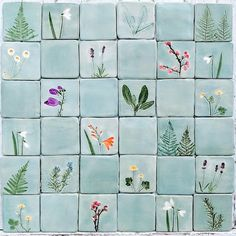 Botanical handmade ceramic tiles flowers, ferns, herbs, hand cut tiles, grey celadon colour MADE TO ORDER Wood Ceramic Tiles, Ceramic Decor, Glazed Ceramic, Ceramic Clay, Ceramic Bowls, Porcelain Tile, Bleu Celadon, Handmade Tiles, Handmade Ceramic