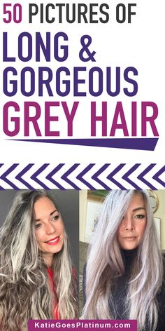 Are you afraid that you'll look frumpy with long grey hair over 40? No need to worry. Women of all ages look beautiful with long grey hair. These photos of all different kinds of long grey hairstyles are sure to inspire you. Long Silver Hair, Short Grey Hair, Feathered Hairstyles, Up Hairstyles, Grey Hair And Glasses, Damp Hair Styles, Long Hair Styles, Grey Hair Inspiration, Transition To Gray Hair