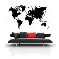 Wallstickers med det meget popul�re verdenskort. Fri fragt.