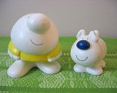 Ziggy and Fuzz the Dog Salt and Pepper Shakers Comic Characters Pair Set of Two Made In Japan Ceramic