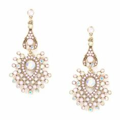 Art Deco Iridescent and Opalescent Crystal Fan Chandelier Drop Earrings