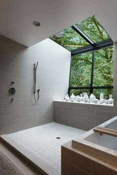 Lovely open plan shower with an airy view.