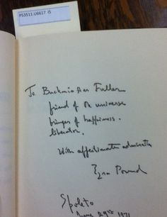 """Book inscription from Ezra Pound to Buckminster Fuller, found inside library book, """"Intuition."""""""