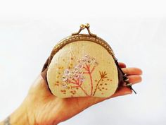 Coin purse / metal frame purse / embroidery purse / by DooDesign, $22.90