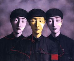 Contemporary Art Chinese Artist Zhang Xiaogang - Portrait in Yellow - Three Comrades http://www.interactchina.com/painting-art/