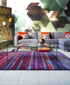 Bold colours with the Aztec rug from Barker and Stonehouse