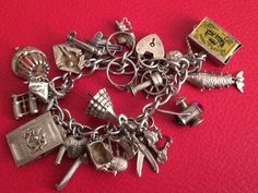 Solid Sterling Silver 925 Charm Bracelet Heavy English Vintage 60.93grams