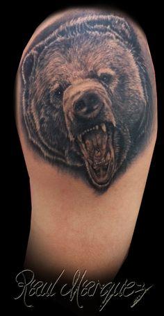 bear tattoo  #bear #beartattoo #realistictattoo #raultat2s #animaltattoo #damageink #damageinkorporated #raultat2s