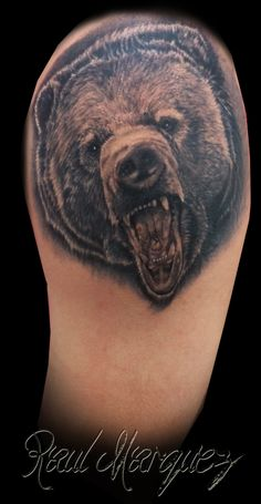 bear tattoo  #bear #beartattoo #realistictattoo #raultat2s #animaltattoo #damageink #damageinkorporated #raultat2s