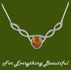Celtic Knotwork Amethyst Design Stylish Pewter Necklace