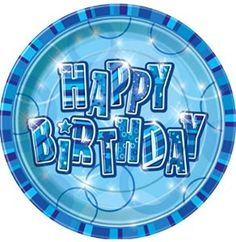 "Amazon.com: Custom & Unique {9"" Inch} 8 Count Multi-Pack Set of Medium Size Round Circle Paper Plates w/ Bubbles Celebration Striped Happy Birthday Text ""Blue & White Colored"": Kitchen & Dining"