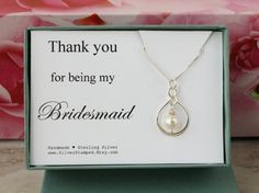 Bridesmaid Gift for Bridesmaid necklace thank you by SilverStamped