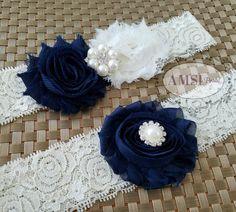 Navy Blue wedding garter Set,Navy Bridal Belt,Dark Blue garters,Garters Sets,Navy toss Garter,Navy blue Wedding,Navy and Ivory wedding,bride