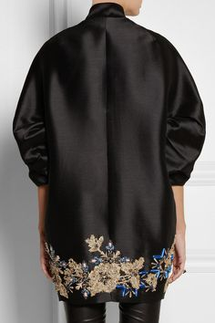 Hand-embroidered Black shantung Gold and blue embroidery, multicolored crystal, bead and sequin embellishments, slit pockets, fully lined Concealed snap fastenings through front 58% polyester, 42% acetate; lining: 100% acetate Dry clean
