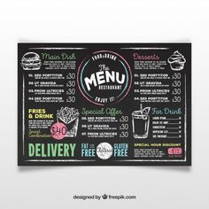 Burger restaurant menu template with illustrations Vector Menu Board Design, Food Menu Design, Chalkboard Designs, Chalkboard Art, Chalkboard Drawings, Menu Burger, Menu Vintage, Menu Bar, Robert Schuman