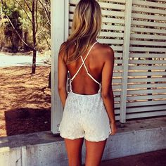 Lusting over the Boheme Lace Playsuit, we love it's open cross back! Get it now SaboSkirt.com #saboskirt