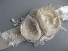 Champagne Bridal sash Wedding belt accessory Vintage dress romantic sashes 2 flowers corsage ribbon dress sash gold ivory nude