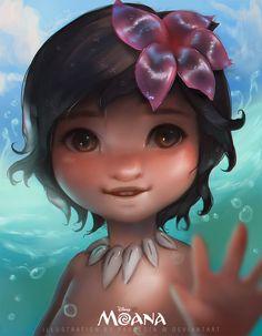 Bye - bye ocean! (Baby Moana) by pradesta.deviantart.com on @DeviantArt