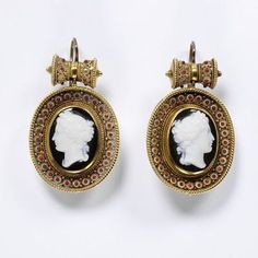 """""""Earrings Place of origin: England (probably, made) Date: ca. 1865 (made) Artist/Maker: Unknown Materials and Techniques: Enamelled gold, set with paste cameos Credit Line: Given by Mrs Jessica G. Cameo Jewelry, Royal Jewelry, Jewelry Art, Jewellery, Antique Earrings, Antique Jewelry, Vintage Jewelry, Piercings, V & A Museum"""