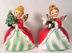 Vintage Napco Christmas Figurines Girl Angel Planters Lantern & Christmas Tree