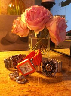 Pink Roses, Orange Watches, French Vintage Medallion Jewelry  http://www.frenchkande.com