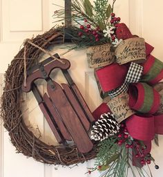 This is the perfect wreath to add to your country Christmas decor! It is simple, yet gorgeous. Created on an 18 grapevine wreath. I added six