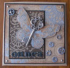 Add this to the Steampunk Crazy Quilt inspiration . Masculine Birthday Cards, Masculine Cards, Paper Cards, Diy Cards, Steampunk Cards, Butterfly Crafts, Beautiful Handmade Cards, Card Making Inspiration, Card Tags