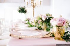 Gold and pink centerpieces Romantic Weddings, Real Weddings, Wedding Themes, Wedding Photos, Green Cove Springs, Pink Centerpieces, Theatre Wedding, Wedding Website, Plan Your Wedding