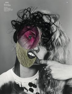 Charlotte Free for Dazed and Confused magazine Photography Richard Burbridge Styling Robbie Spencer Artwork Maurizio Anzeri Collage Kunst, Collage Artists, Textile Artists, Richard Burbridge, Photo Sculpture, Dazed And Confused, A Level Art, Gcse Art, Italian Artist