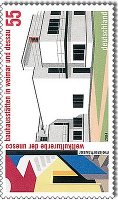 "German commemorative stamp World Heritage Site by UNESCO ""Weimar and Dessau», edition: April 7, 2004. #Bauhaus"