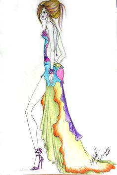Vestido inspirado en una rosa by Romina Fochesatto, via Behance
