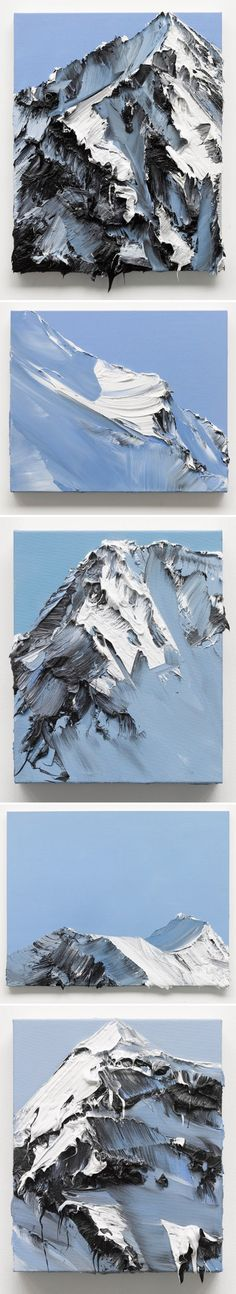 This shows rhythm because the texture it holds make the mountains look as if they are flowing throughout the piece.