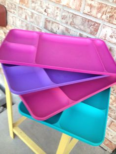 Set of 4 Tupperware trays - Magenta, Pink. Purple and Aqua  on Etsy, $15.95
