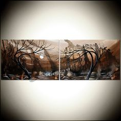 LAKE SUNSET PAINTING sunrise painting Landscape Art Water decor by Maitryii Fine Art  | Chocolate World