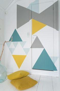 YK64 Dreiecke Grau Weiß Türkis   Vliestapete Quadrat | Ideen Für´s Haus |  Pinterest | Quadrate, Fototapete Und Dreieck