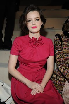 Roxane Mesquida wears a Valentino dress from the Pre- Fall 13/14 collection to  the Valentino Fall/Winter 2013 Ready-to-Wear show on March 5th 2013 in Paris