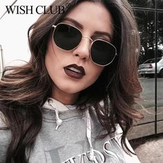 c7e355bf72 Wish Club Small Sunglasses Women Vintage Polygon 90S S Retro Mirror  W8R0203003