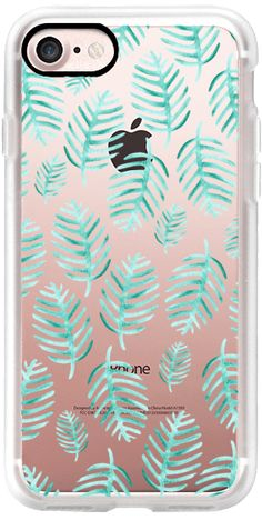 Casetify iPhone 7 Classic Grip Case - Modern Green Watercolor Tropical Palm Leaves trendy simple Pattern Clear Case by Carla Zancanaro #Casetify